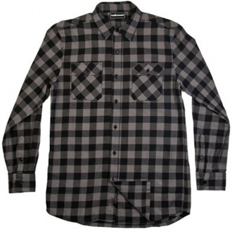 The Hundreds 'Bison' Flannel Shirt -Charcoal-
