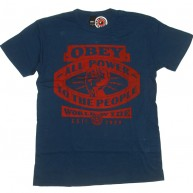 Obey 'All Power' Antique Tee -Dk Blue-