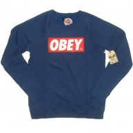 Obey 'Bar Logo' Sweat-Shirt -Dk Blue-