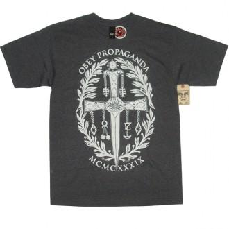 Obey 'Dagger Crest' T-Shirt -Charcoal-