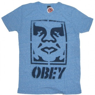 Obey 'Icon Face Label' Tri-Blend Tee -Heather Blue-