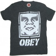 Obey 'Icon Face Label' Tri-Blend Tee -Charcoal-