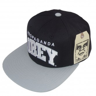Obey 'Throwback' Snapback Cap -Black/Silver-