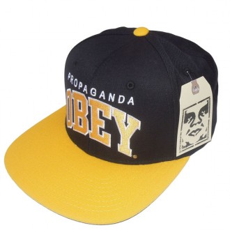 Obey 'Throwback' Snapback Cap -Black/Gold-